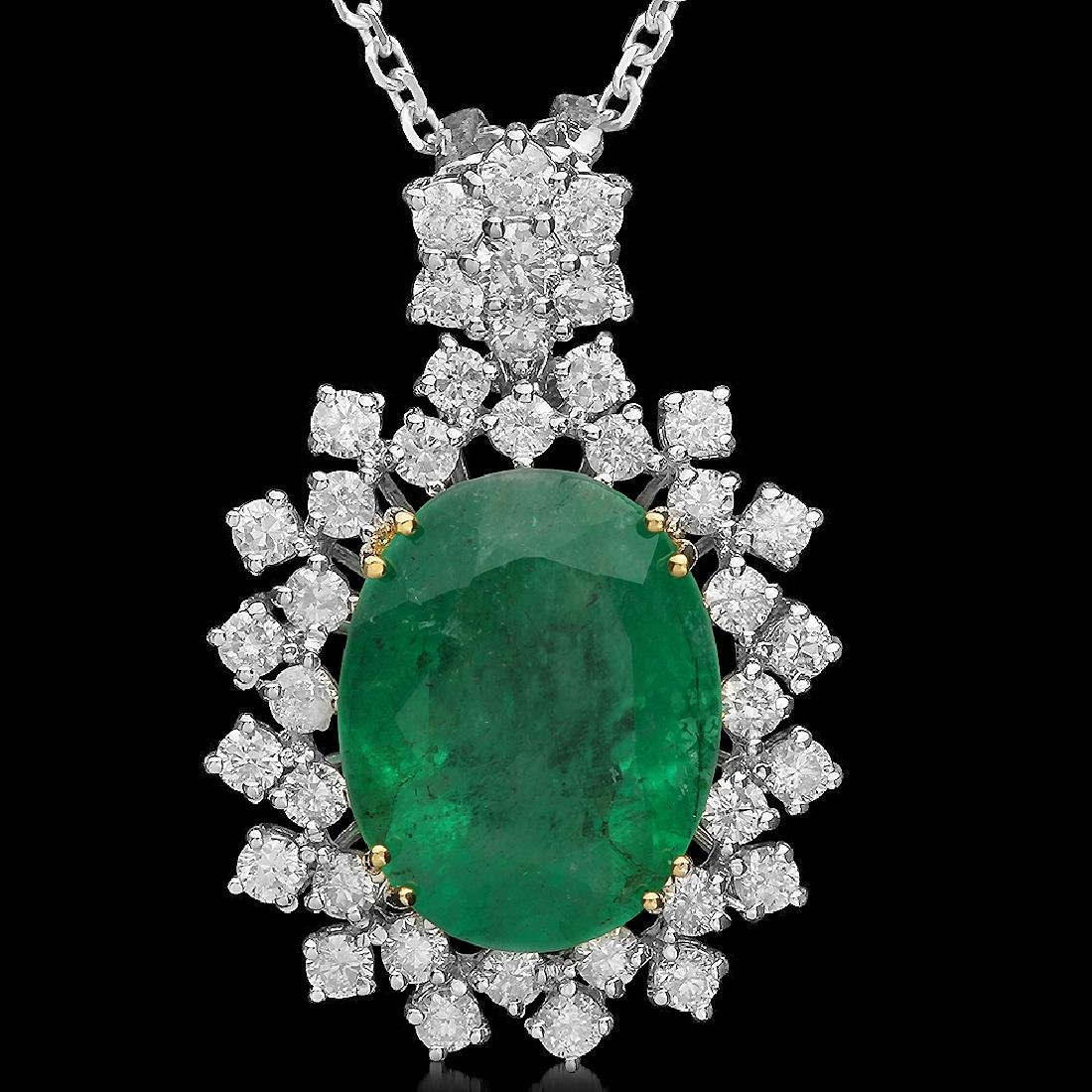 14K Gold 7.50ct Emerald 1.70ct Diamond Pendant