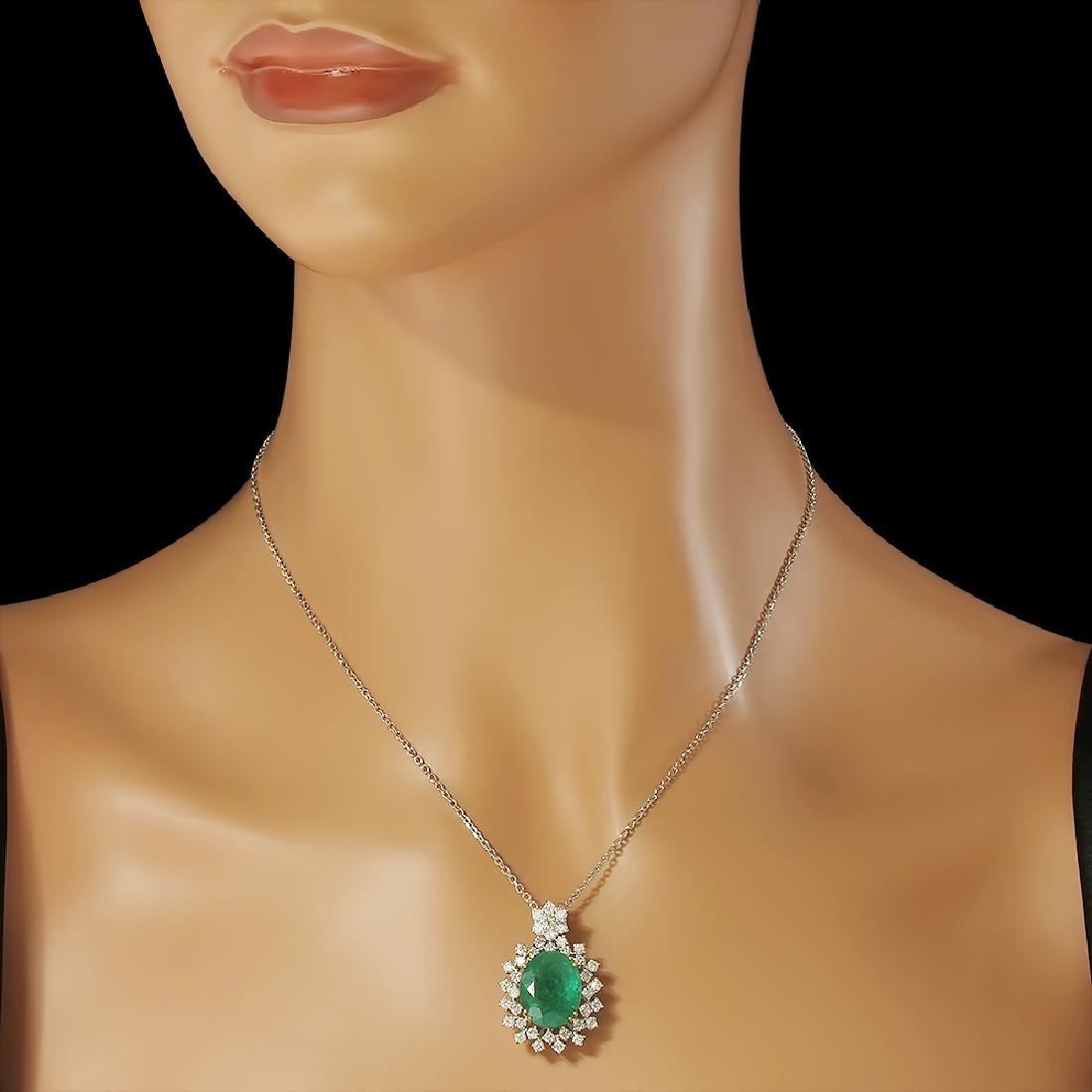 14K Gold 7.50ct Emerald 1.70ct Diamond Pendant - 2