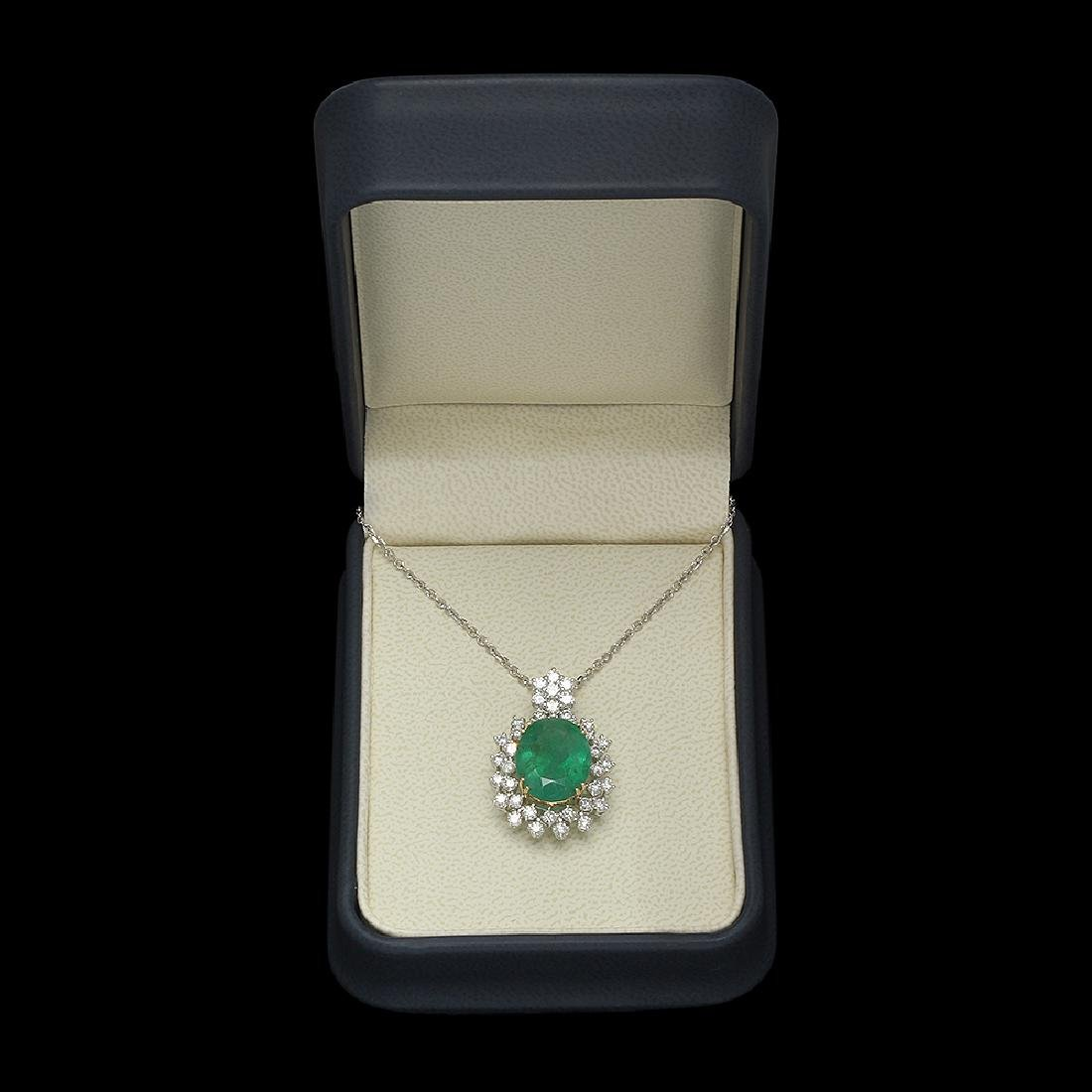 14K Gold 7.50ct Emerald 1.70ct Diamond Pendant - 3