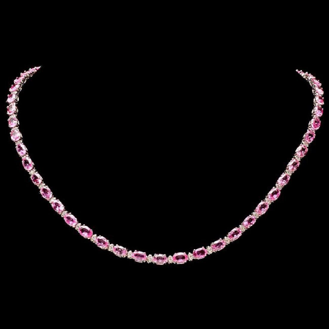 14k Gold 26ct Sapphire 1.00ct Diamond Necklace