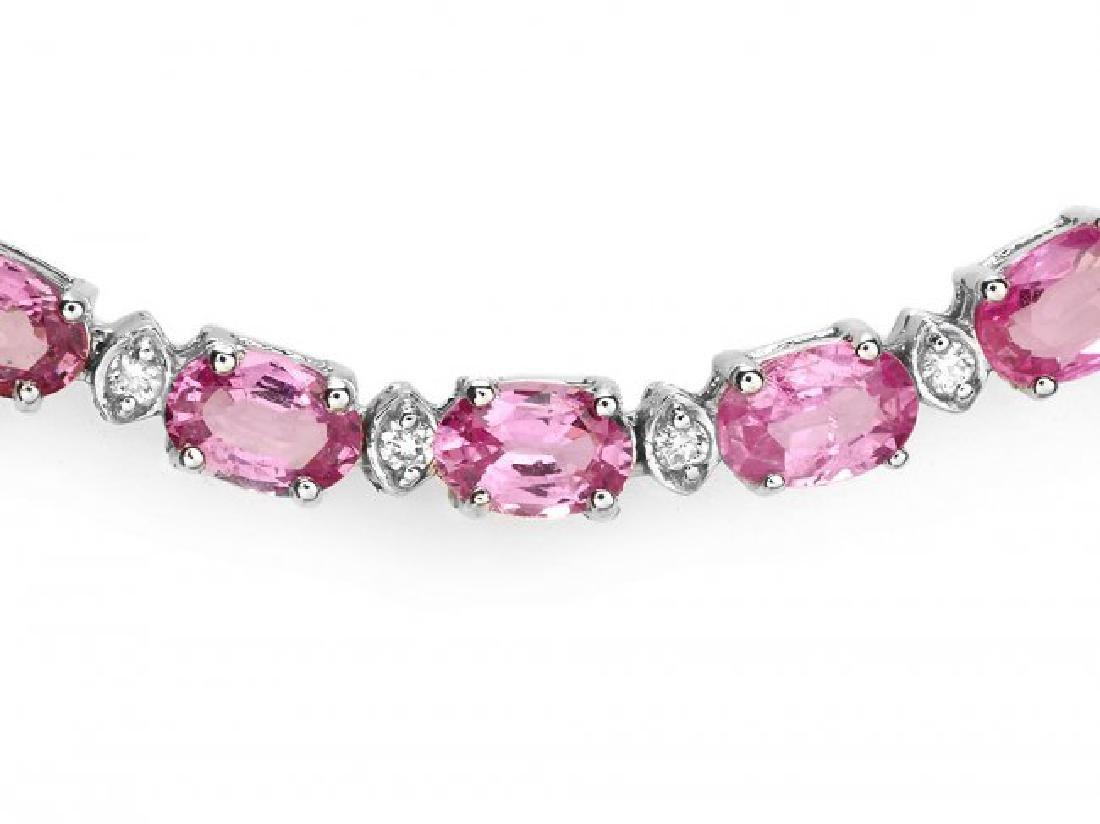 14k Gold 26ct Sapphire 1.00ct Diamond Necklace - 2