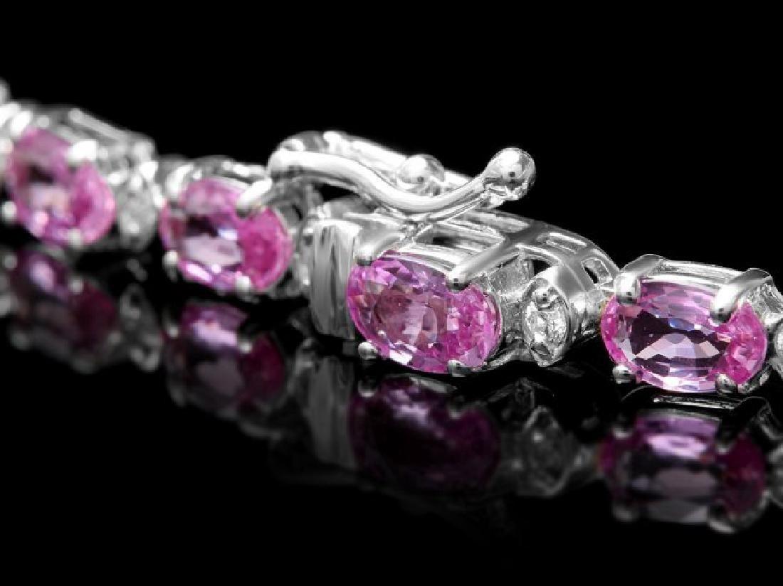 14k Gold 26ct Sapphire 1.00ct Diamond Necklace - 4