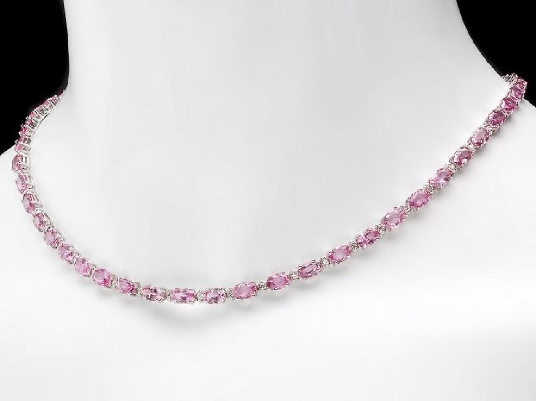 14k Gold 26ct Sapphire 1.00ct Diamond Necklace - 5