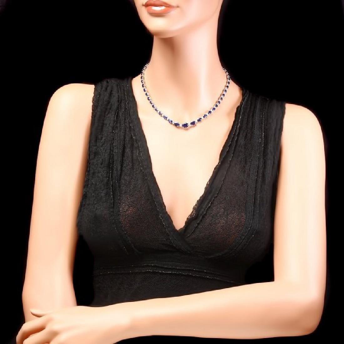 14k Gold 30ct Sapphire 1.35ct Diamond Necklace - 5