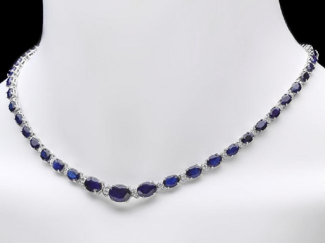 14k Gold 30ct Sapphire 1.35ct Diamond Necklace - 6