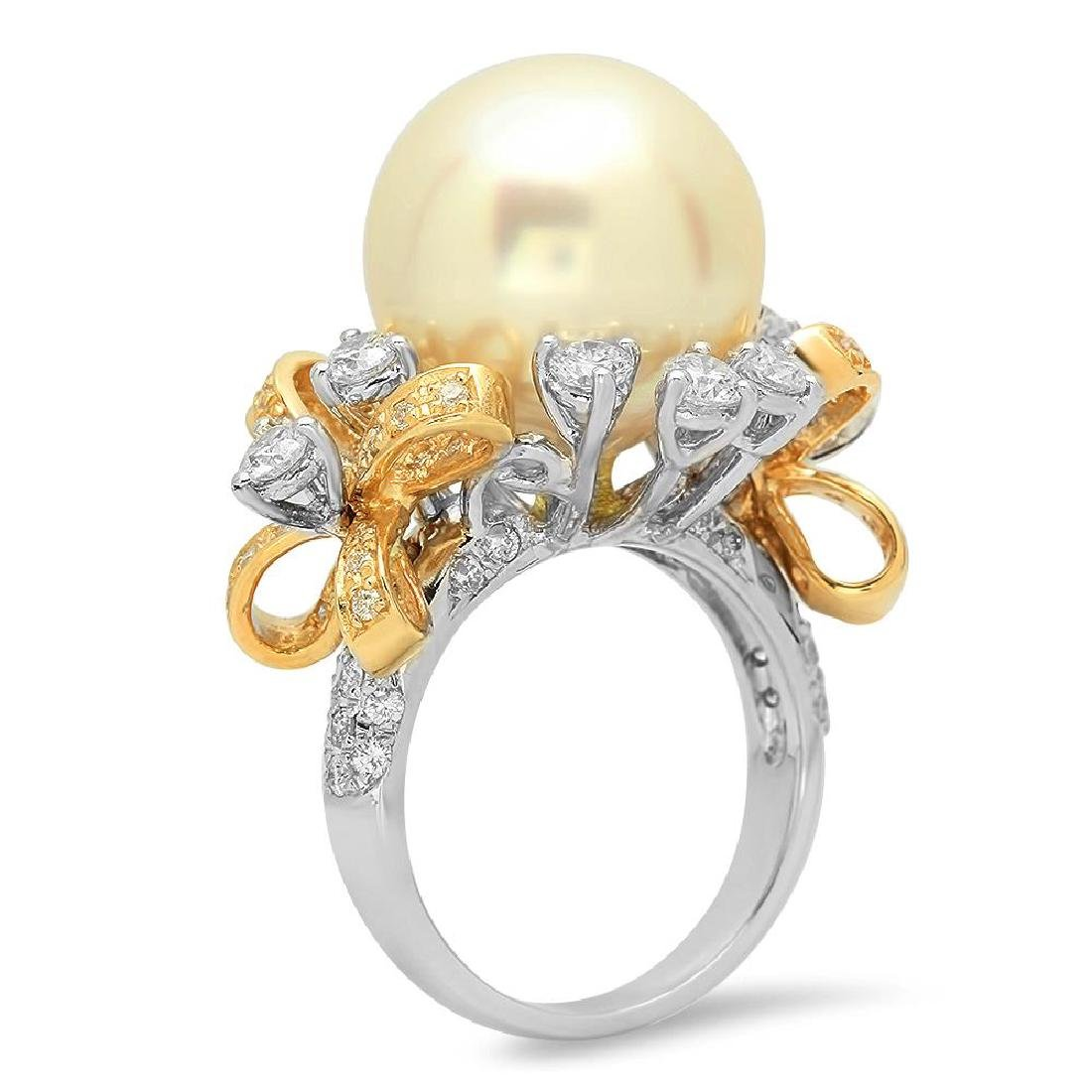 14K Gold 15mm South Sea Pearl 2.26cts Diamond Ring - 2