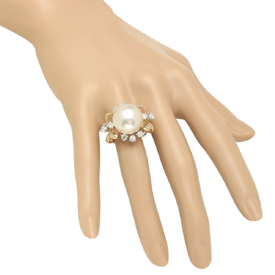 14K Gold 15mm South Sea Pearl 2.26cts Diamond Ring - 3