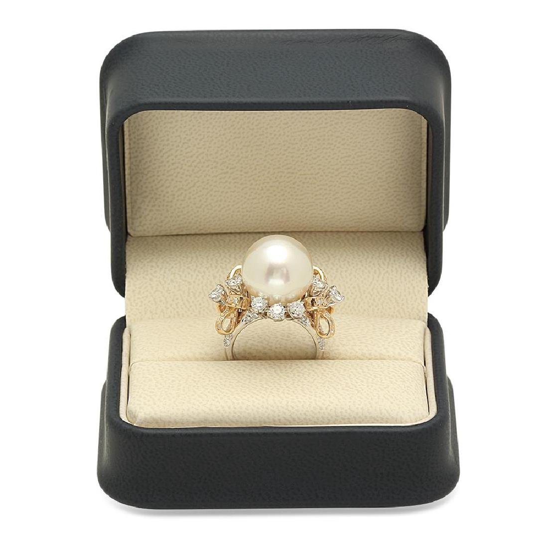14K Gold 15mm South Sea Pearl 2.26cts Diamond Ring - 4