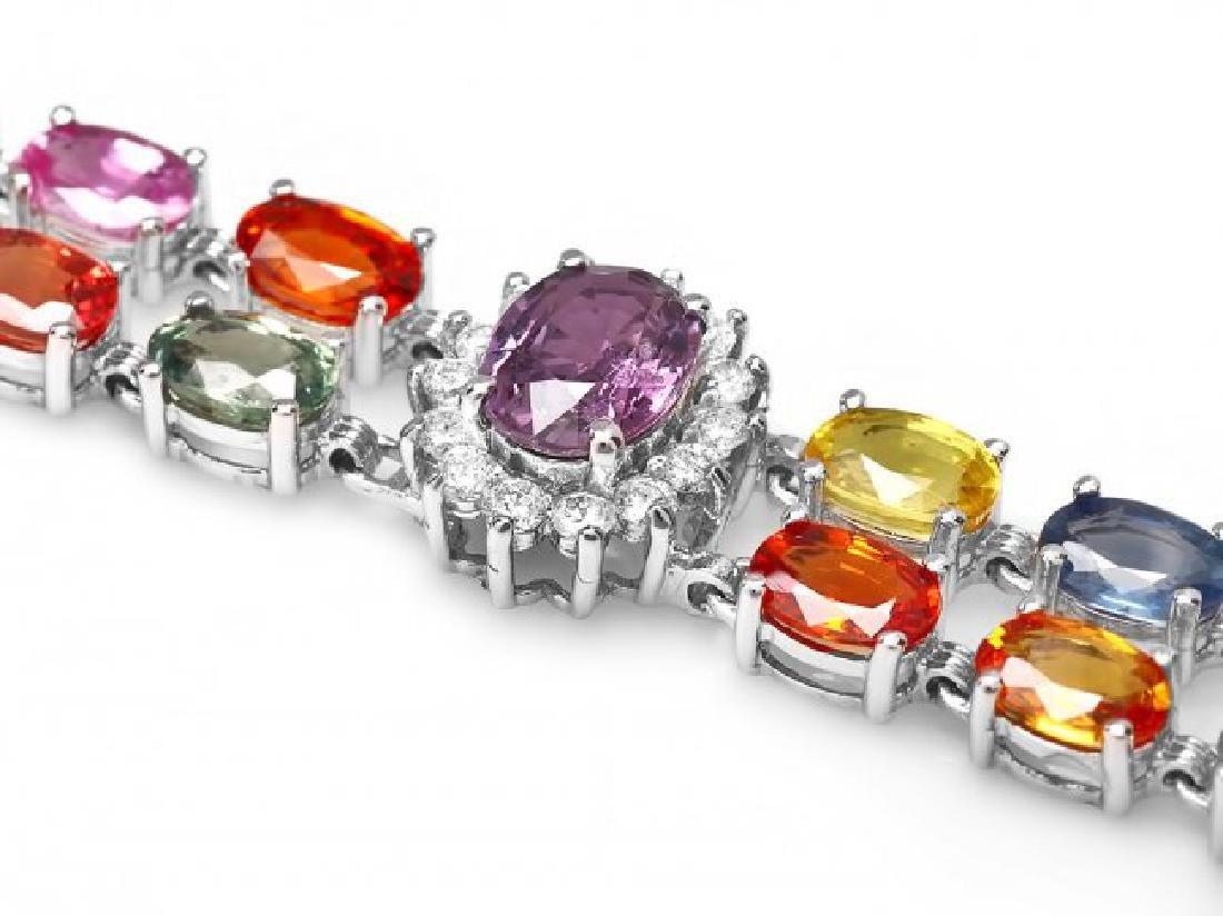 14k Gold 27ct Sapphire 1.20ct Diamond Bracelet - 2
