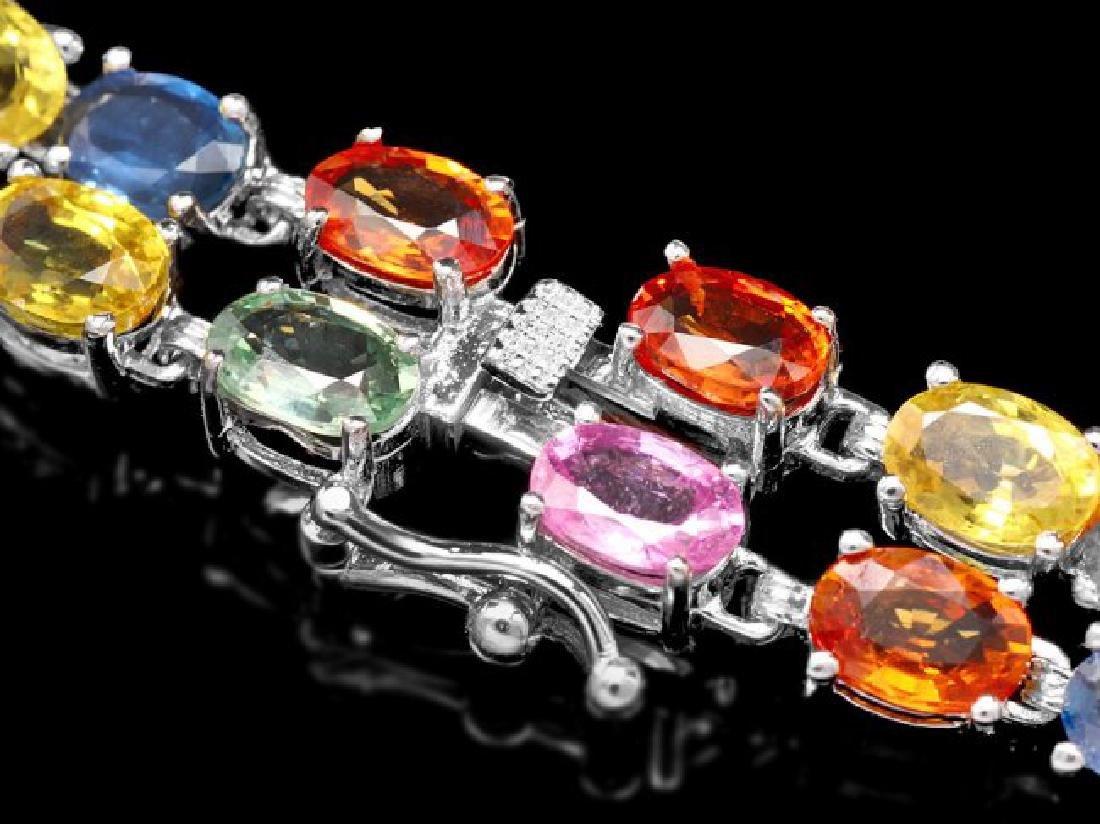 14k Gold 27ct Sapphire 1.20ct Diamond Bracelet - 3