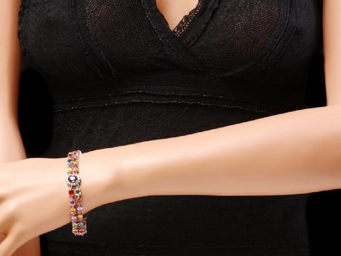 14k Gold 27ct Sapphire 1.20ct Diamond Bracelet - 4
