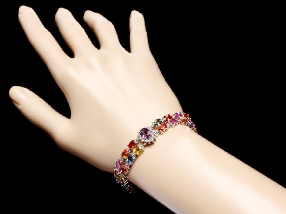14k Gold 27ct Sapphire 1.20ct Diamond Bracelet - 5