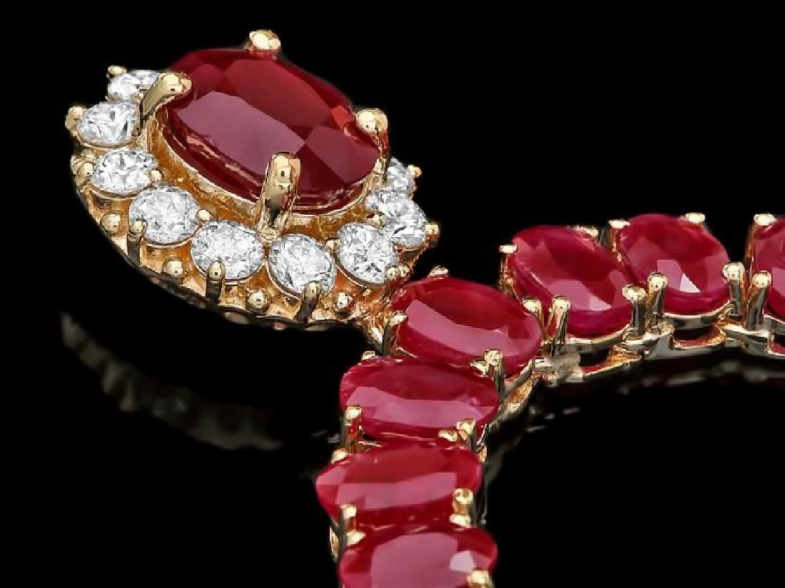14k Yellow Gold 58.5ct Ruby 1ct Diamond Necklace - 2