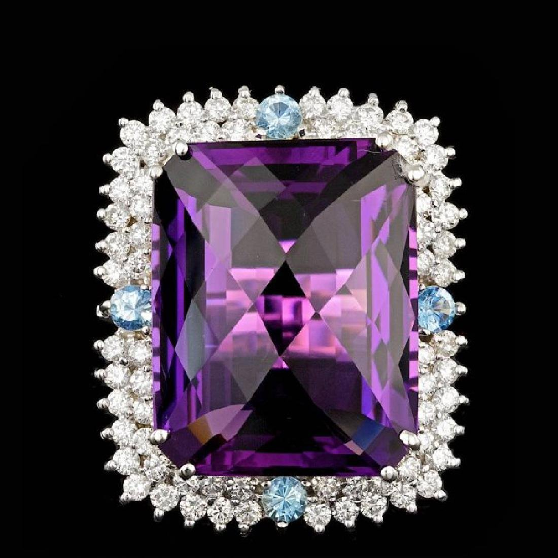 14k Gold 26.00ct Amethyst 1.90ct Diamond Ring