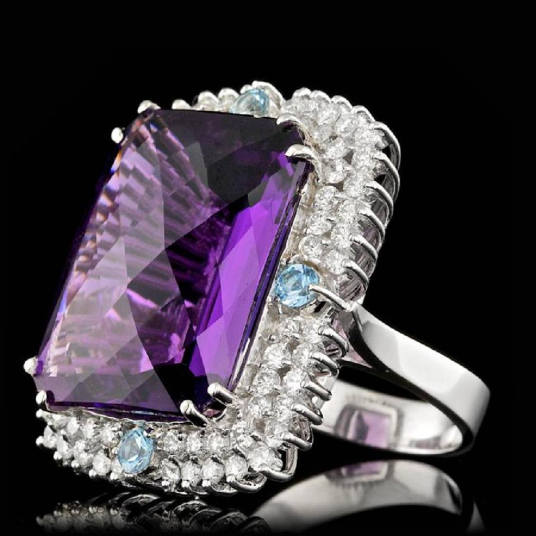 14k Gold 26.00ct Amethyst 1.90ct Diamond Ring - 2