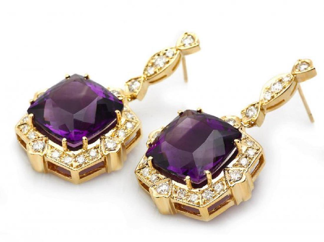 14k Gold 23ct Amethyst 1.6ct Diamond Earrings - 2