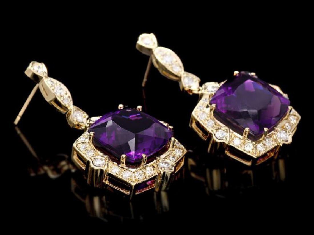 14k Gold 23ct Amethyst 1.6ct Diamond Earrings - 3