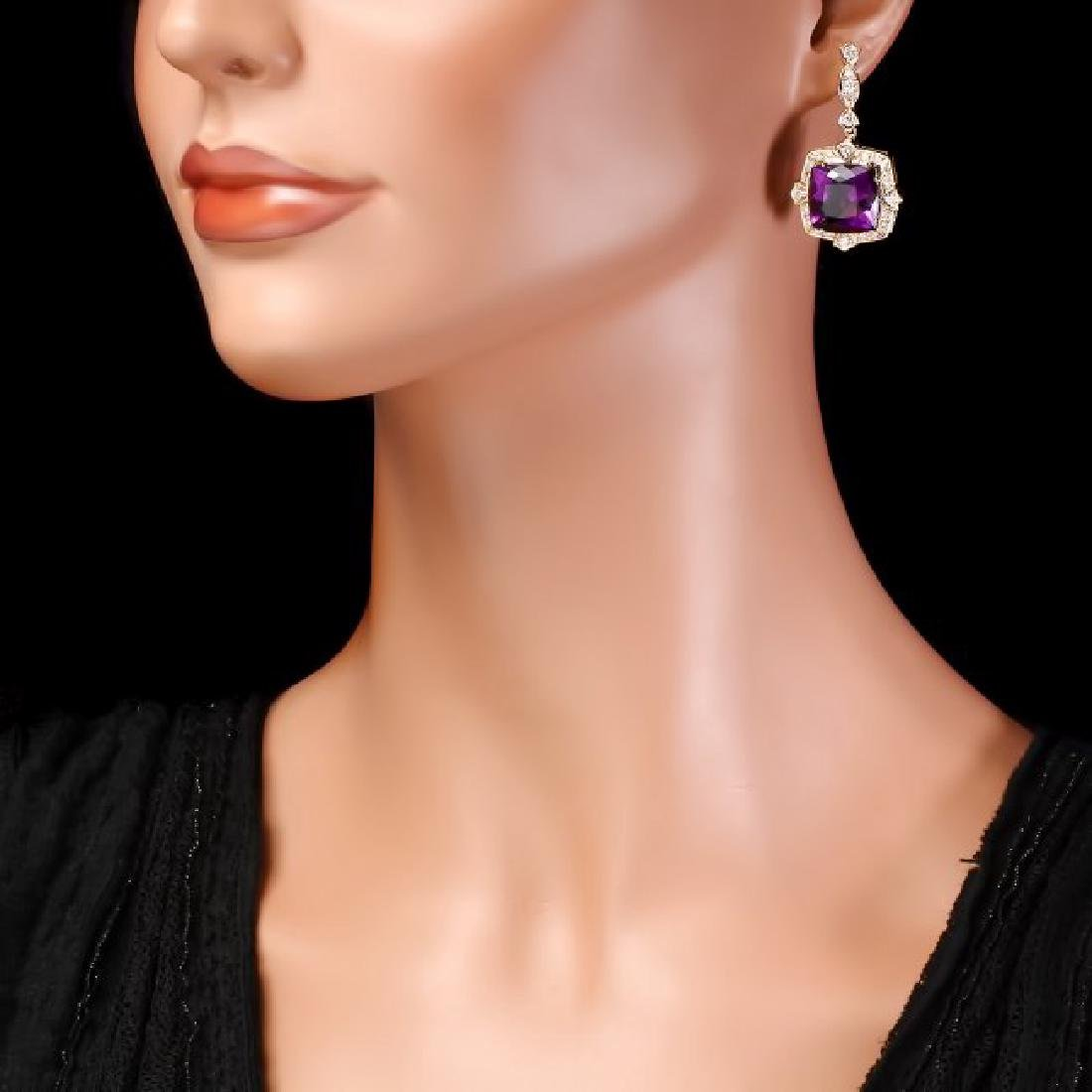 14k Gold 23ct Amethyst 1.6ct Diamond Earrings - 4