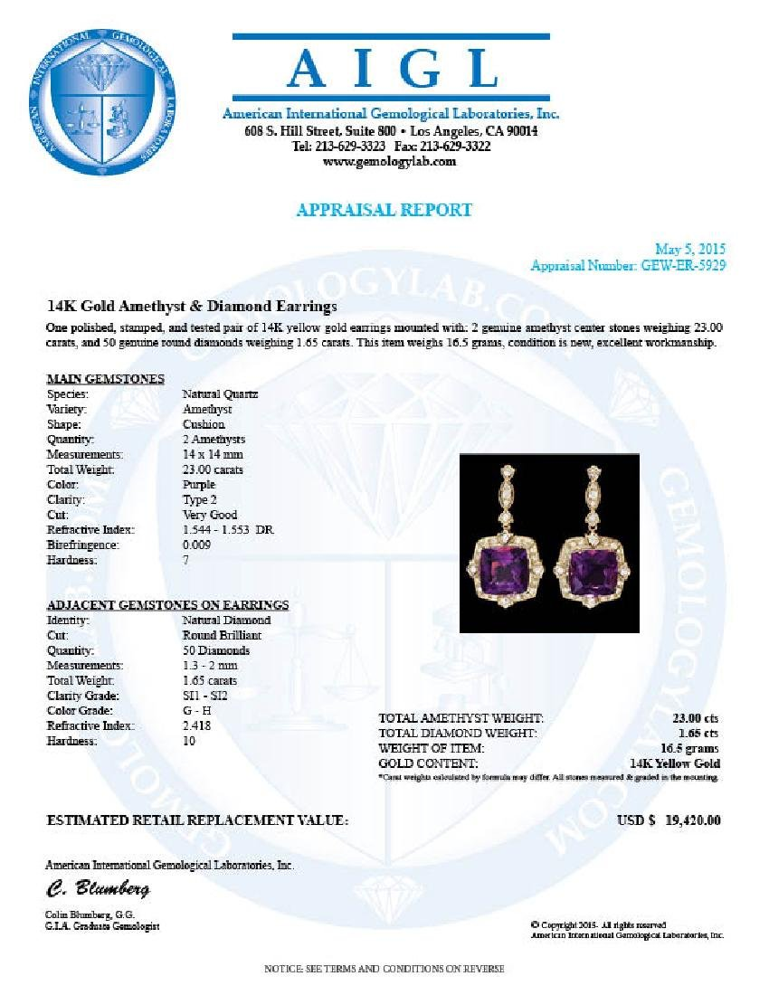 14k Gold 23ct Amethyst 1.6ct Diamond Earrings - 5