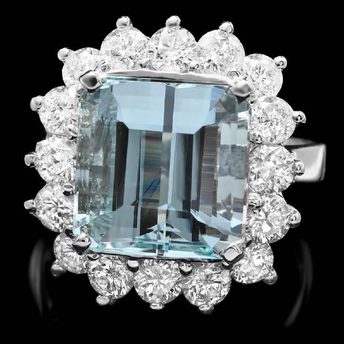 14k White Gold 7.40ct Aquamarine 2ct Diamond Ring