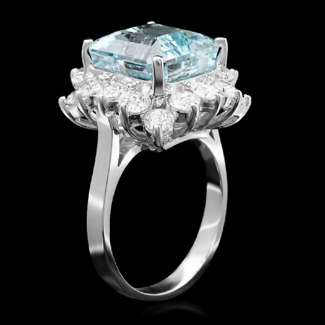 14k White Gold 7.40ct Aquamarine 2ct Diamond Ring - 2