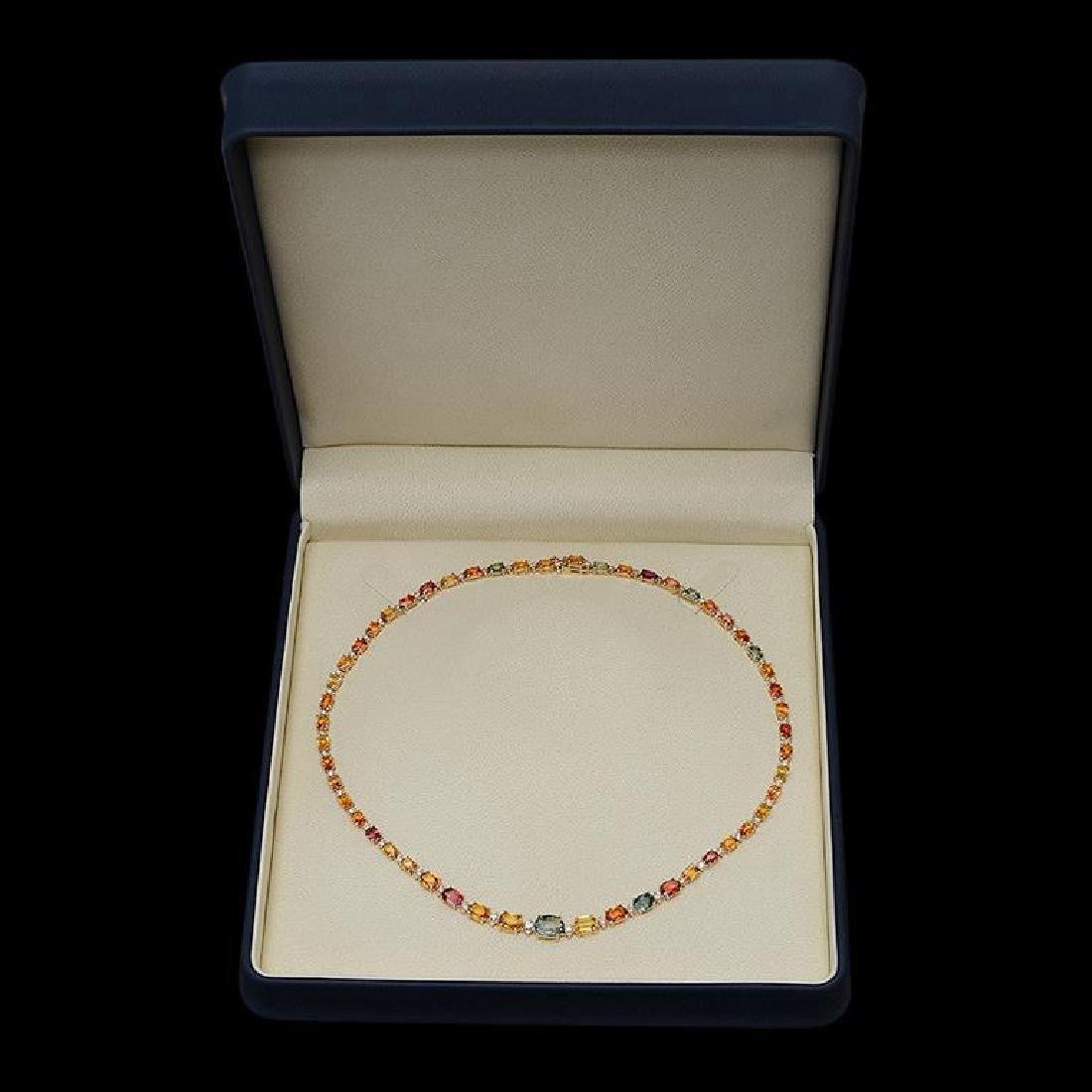 14K Gold 27.10ct Multi-Color Sapphire & 1.21ct Diamond - 2