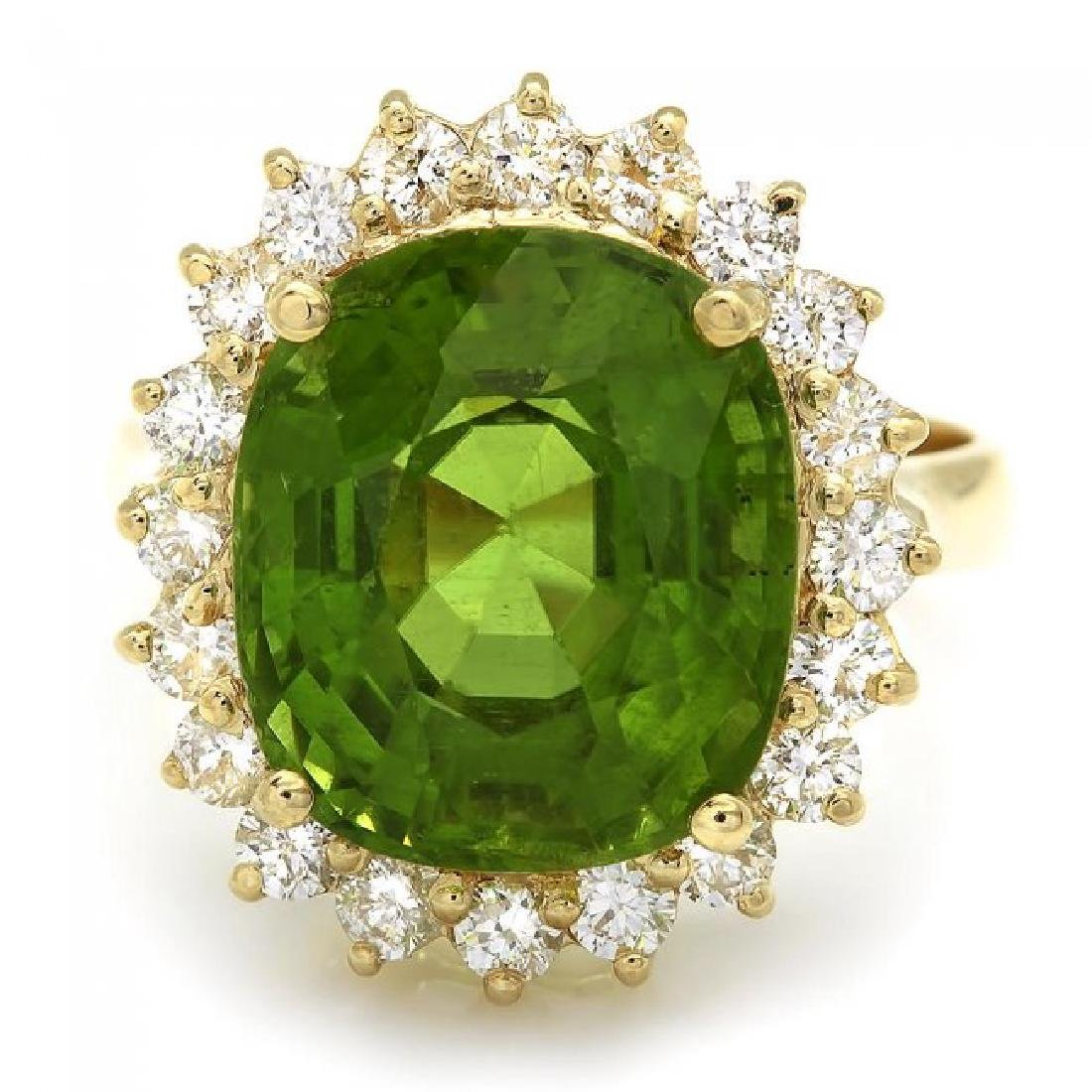 14k Gold 9.00ct Peridot 1.00ct Diamond Ring - 2