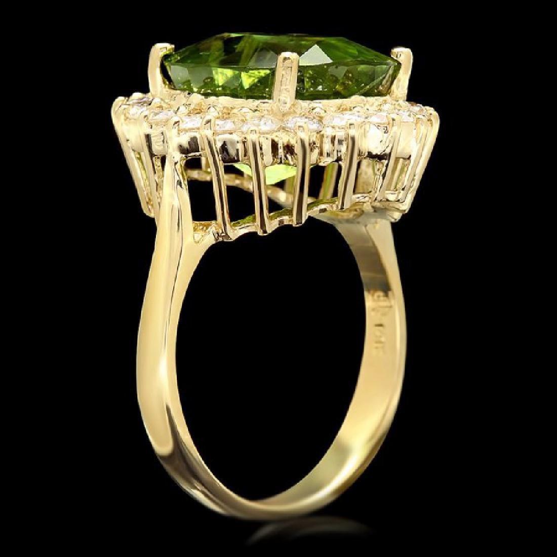 14k Gold 9.00ct Peridot 1.00ct Diamond Ring - 3