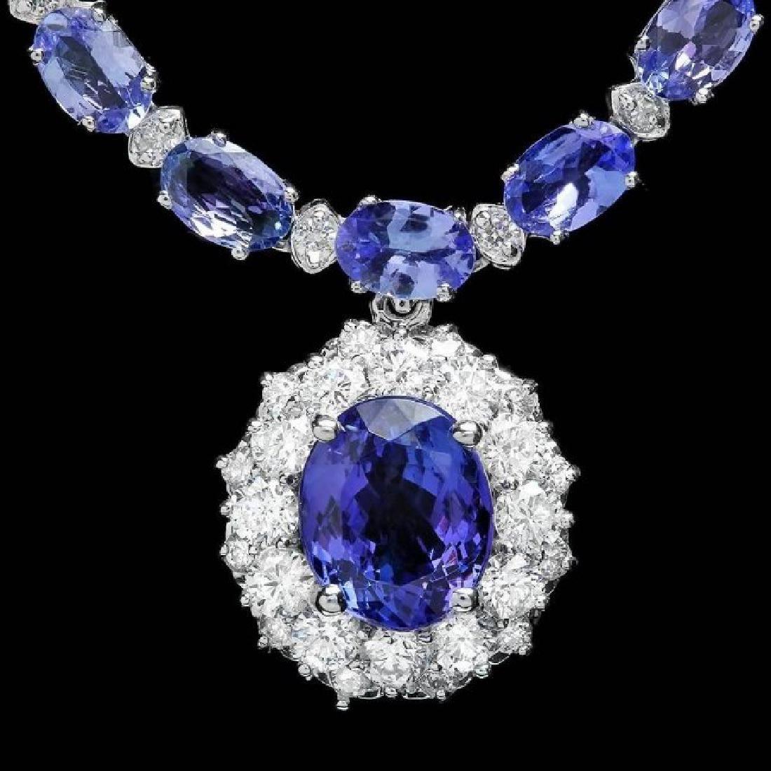 14k Gold 25.5ct Tanzanite 3.00ct Diamond Necklace