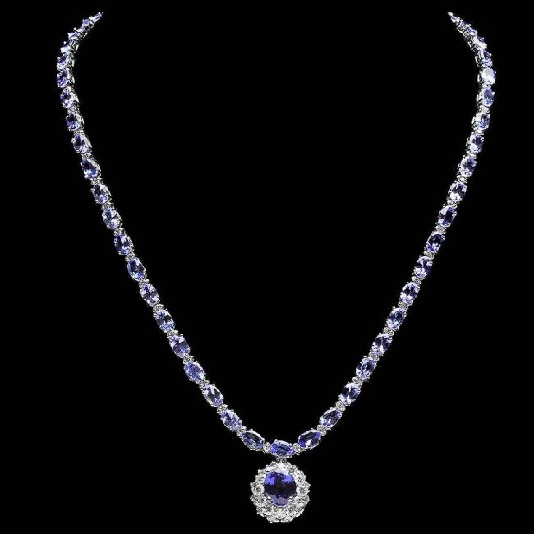 14k Gold 25.5ct Tanzanite 3.00ct Diamond Necklace - 2