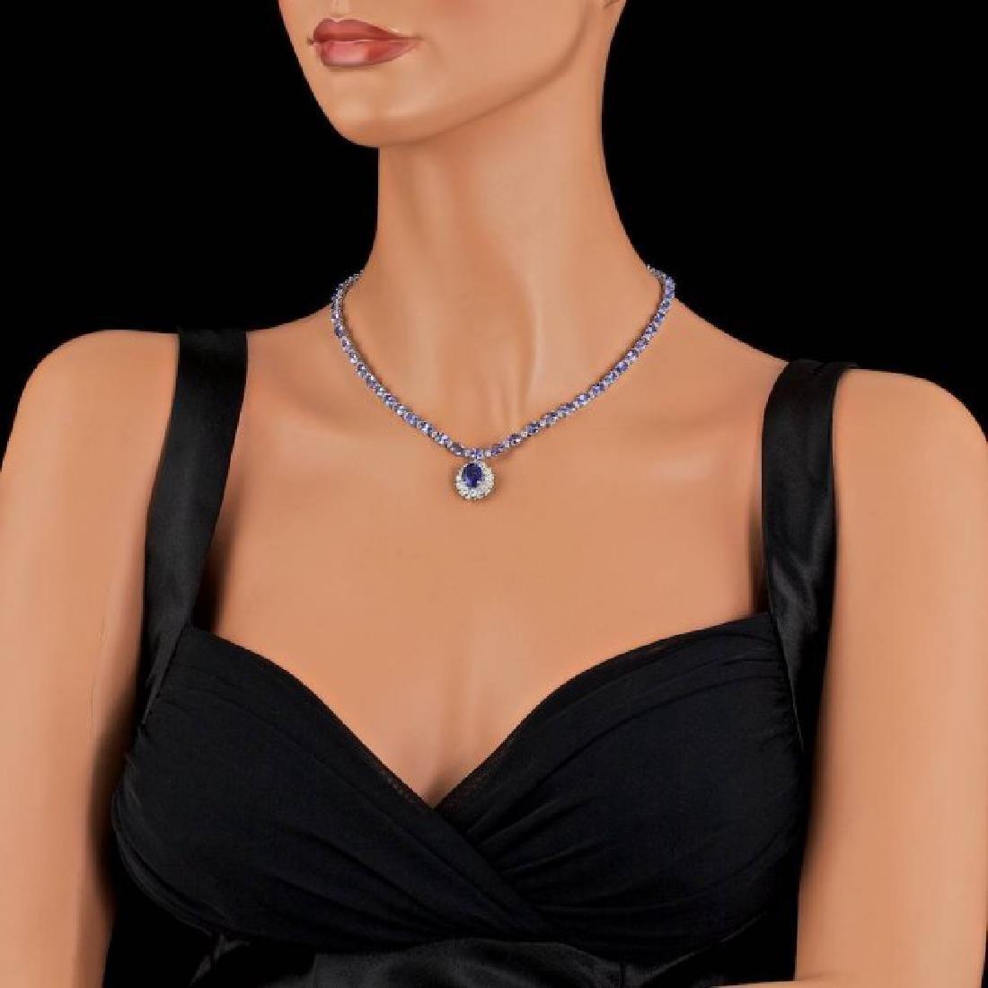 14k Gold 25.5ct Tanzanite 3.00ct Diamond Necklace - 5