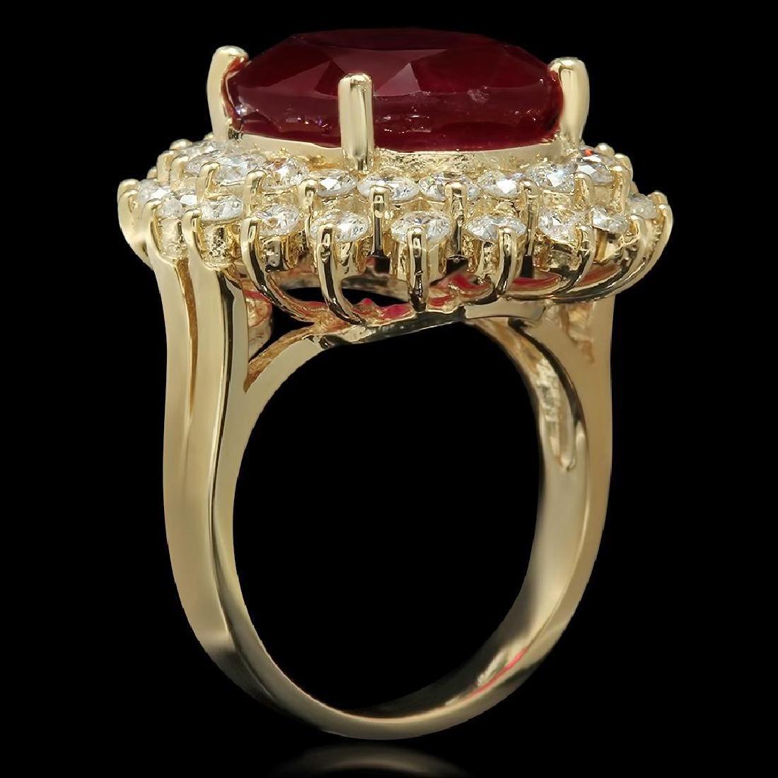 14K Gold 14.38ct Ruby 2.38ct Diamond Ring - 2