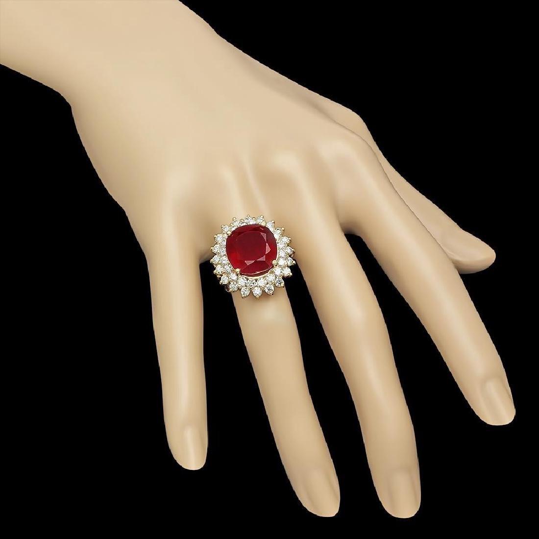 14K Gold 14.38ct Ruby 2.38ct Diamond Ring - 3