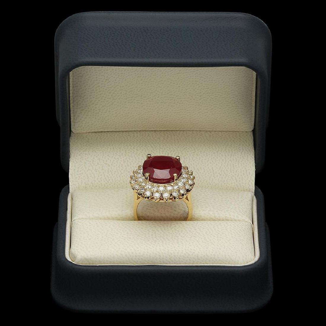 14K Gold 14.38ct Ruby 2.38ct Diamond Ring - 4
