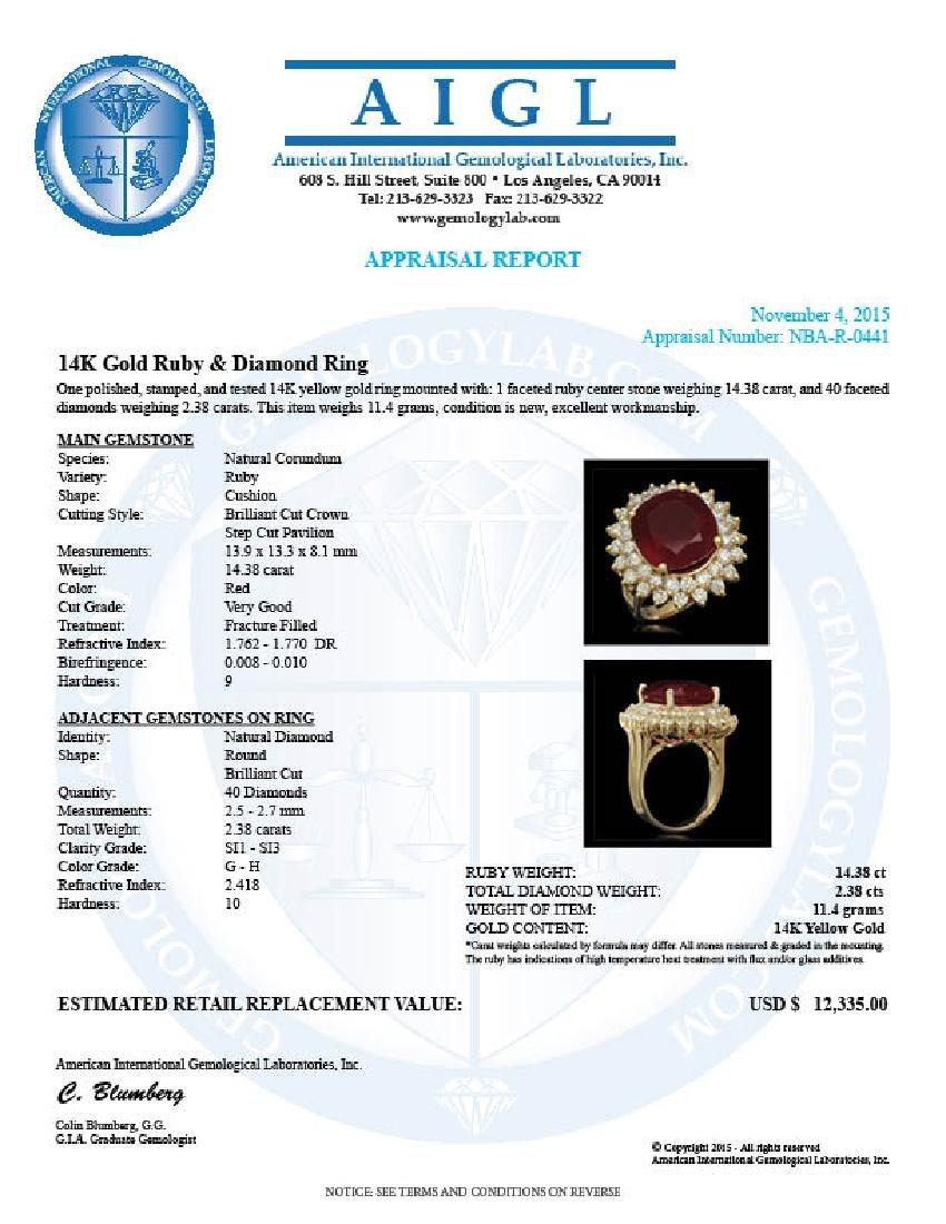 14K Gold 14.38ct Ruby 2.38ct Diamond Ring - 5