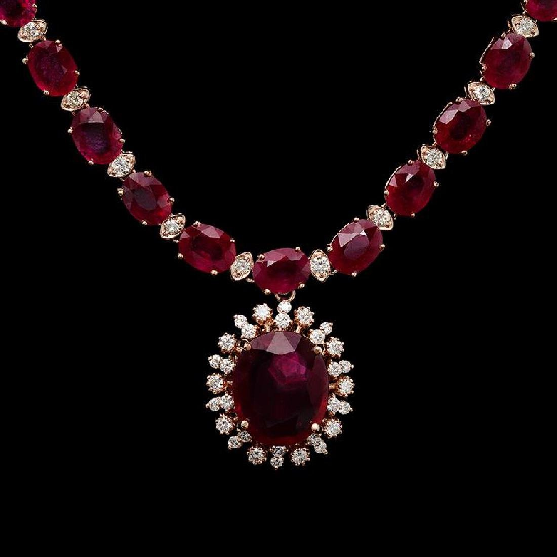 14K Gold 67.60ct Ruby & 2.55ct Diamond Necklace - 2