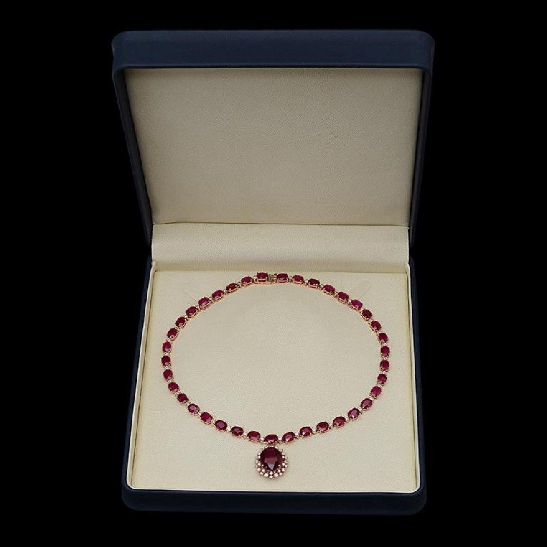 14K Gold 67.60ct Ruby & 2.55ct Diamond Necklace - 3