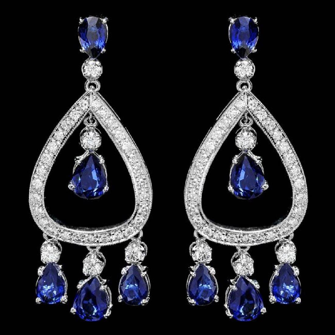 14k Gold 8ct Sapphire 1.10ct Diamond Earrings