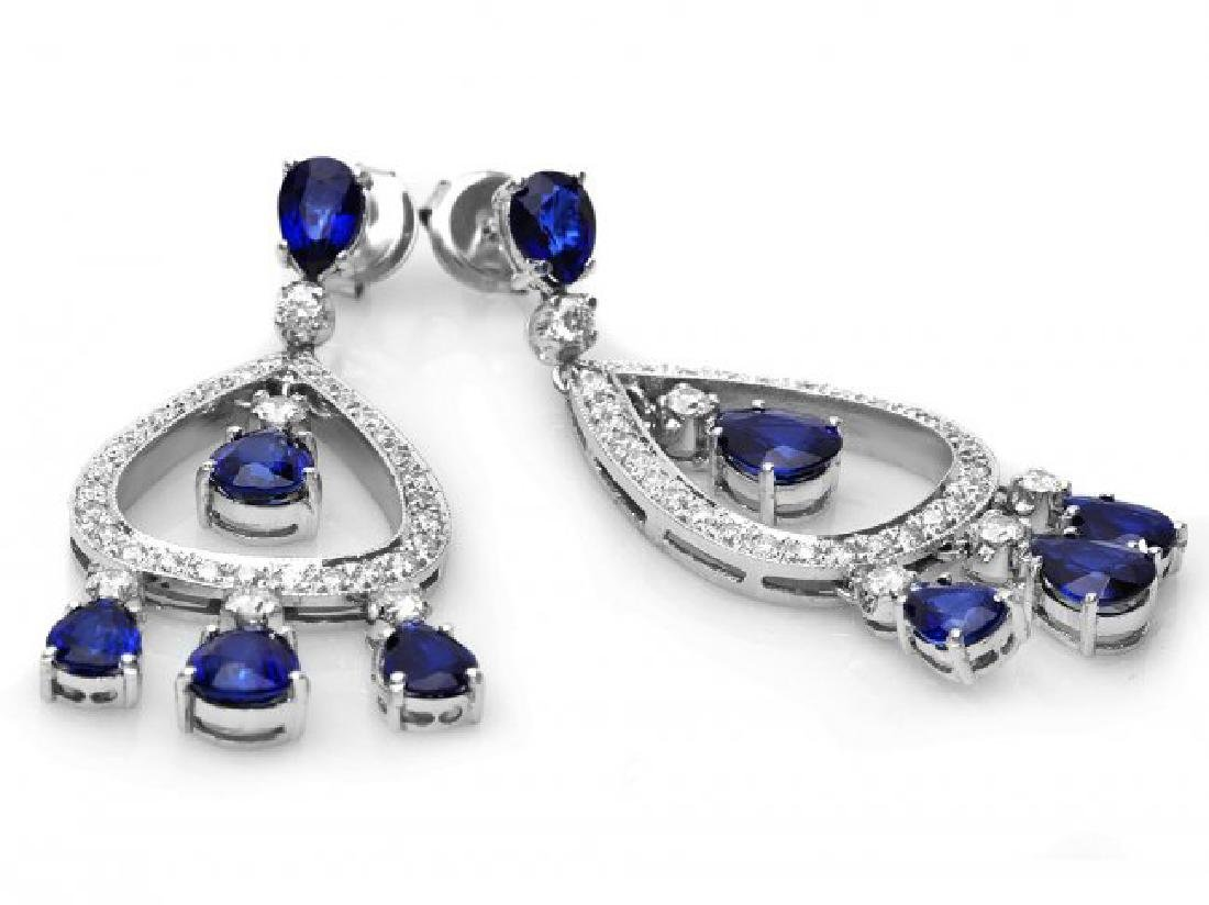 14k Gold 8ct Sapphire 1.10ct Diamond Earrings - 2