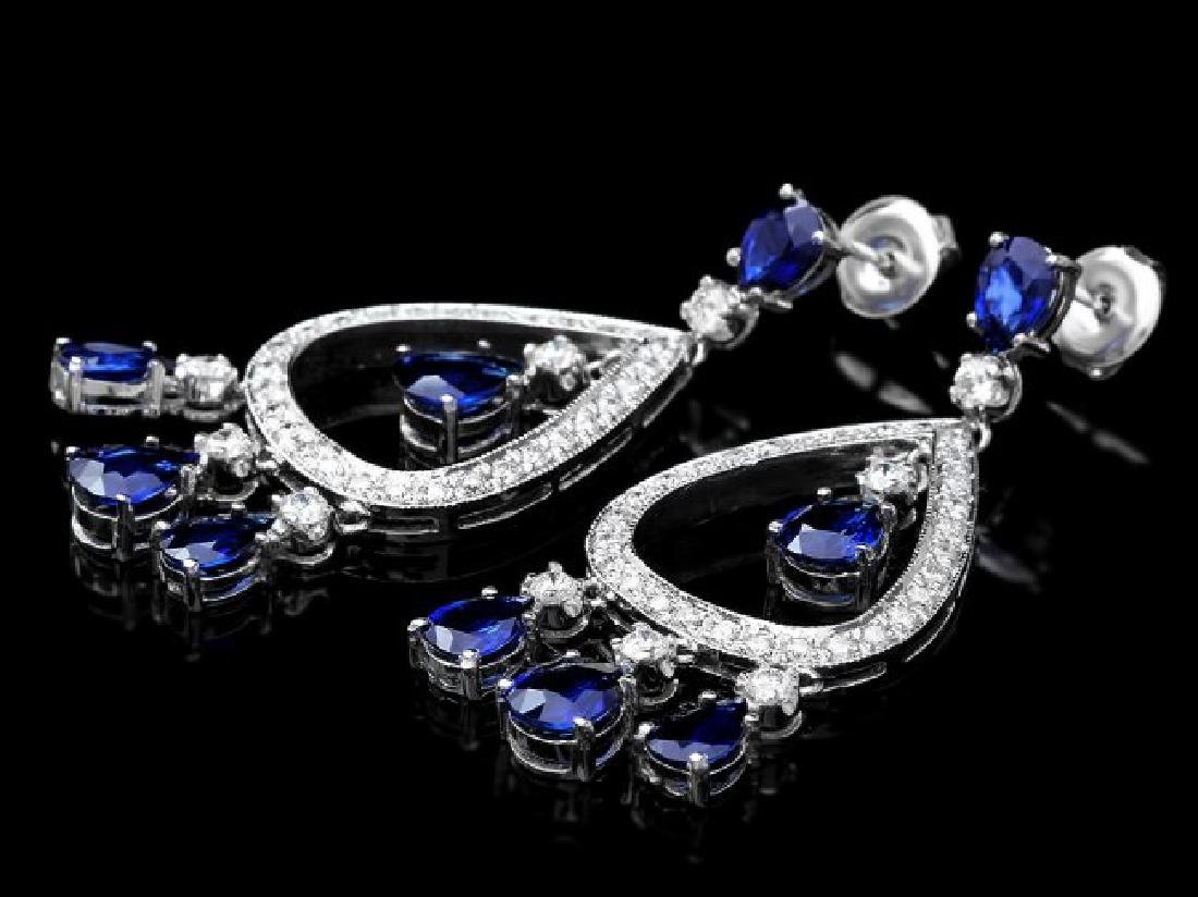14k Gold 8ct Sapphire 1.10ct Diamond Earrings - 3