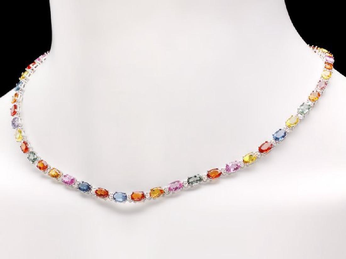 14k Gold 29ct Sapphire 1.45ct Diamond Necklace - 2