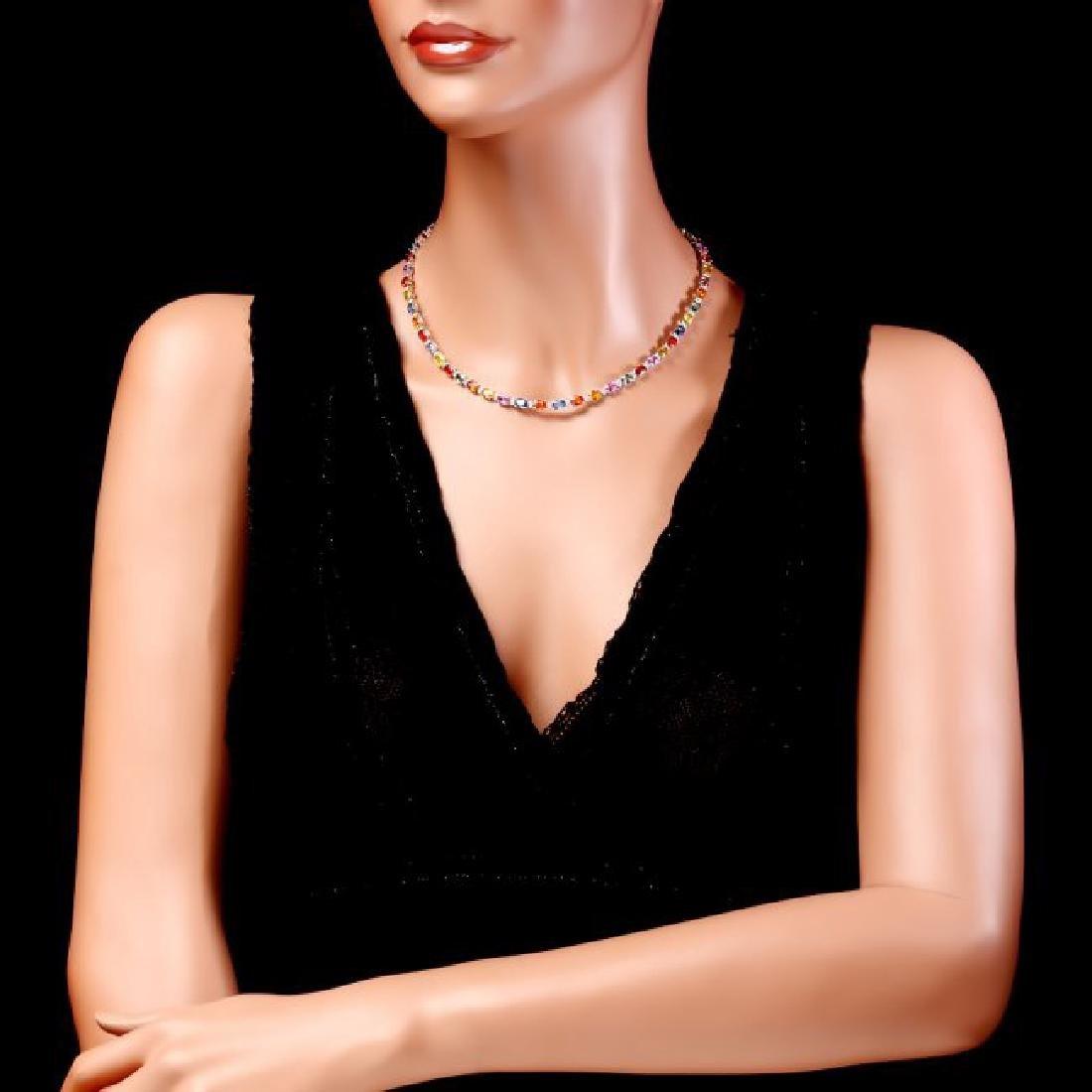 14k Gold 29ct Sapphire 1.45ct Diamond Necklace - 5
