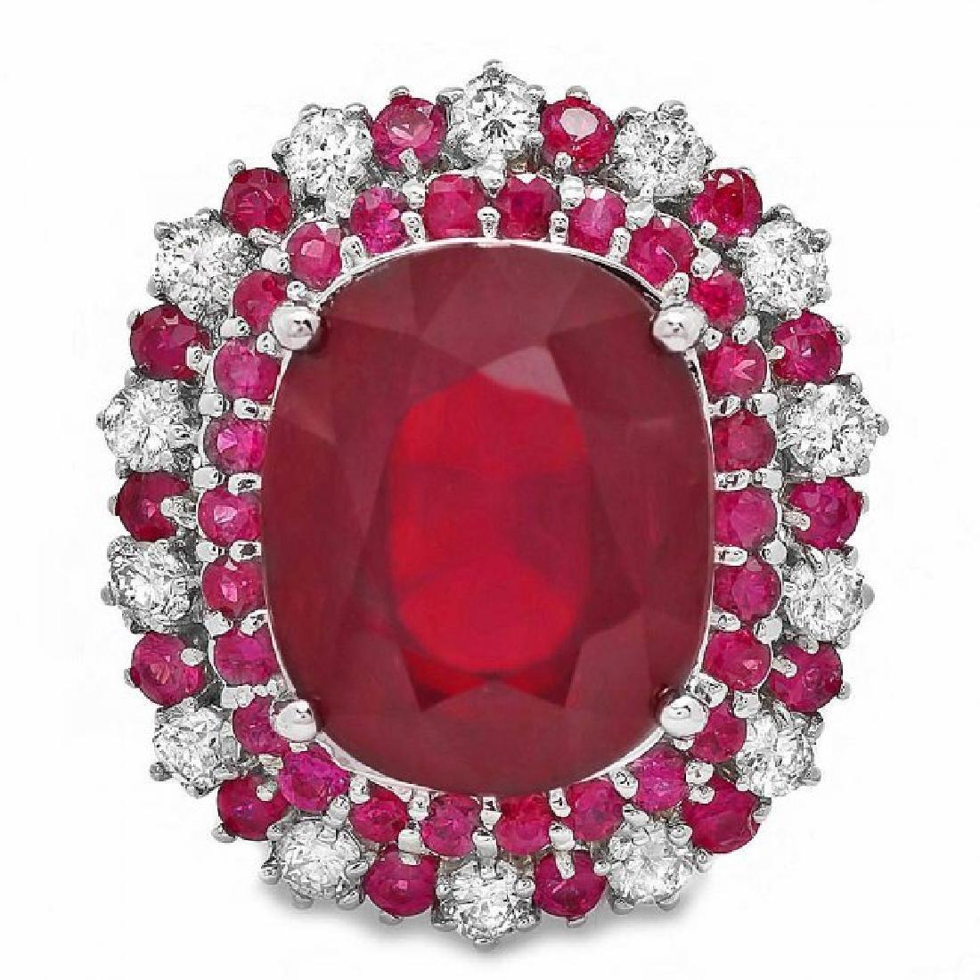 14k White Gold 17.5ct Ruby 0.88ct Diamond Ring - 2