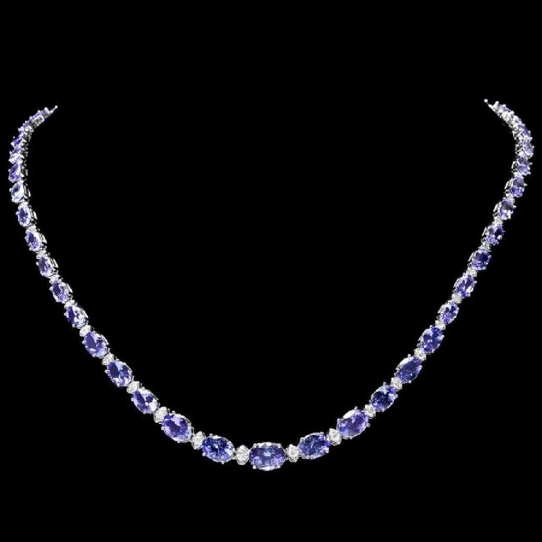 14k 26.00ct Tanzanite 1.10ct Diamond Necklace