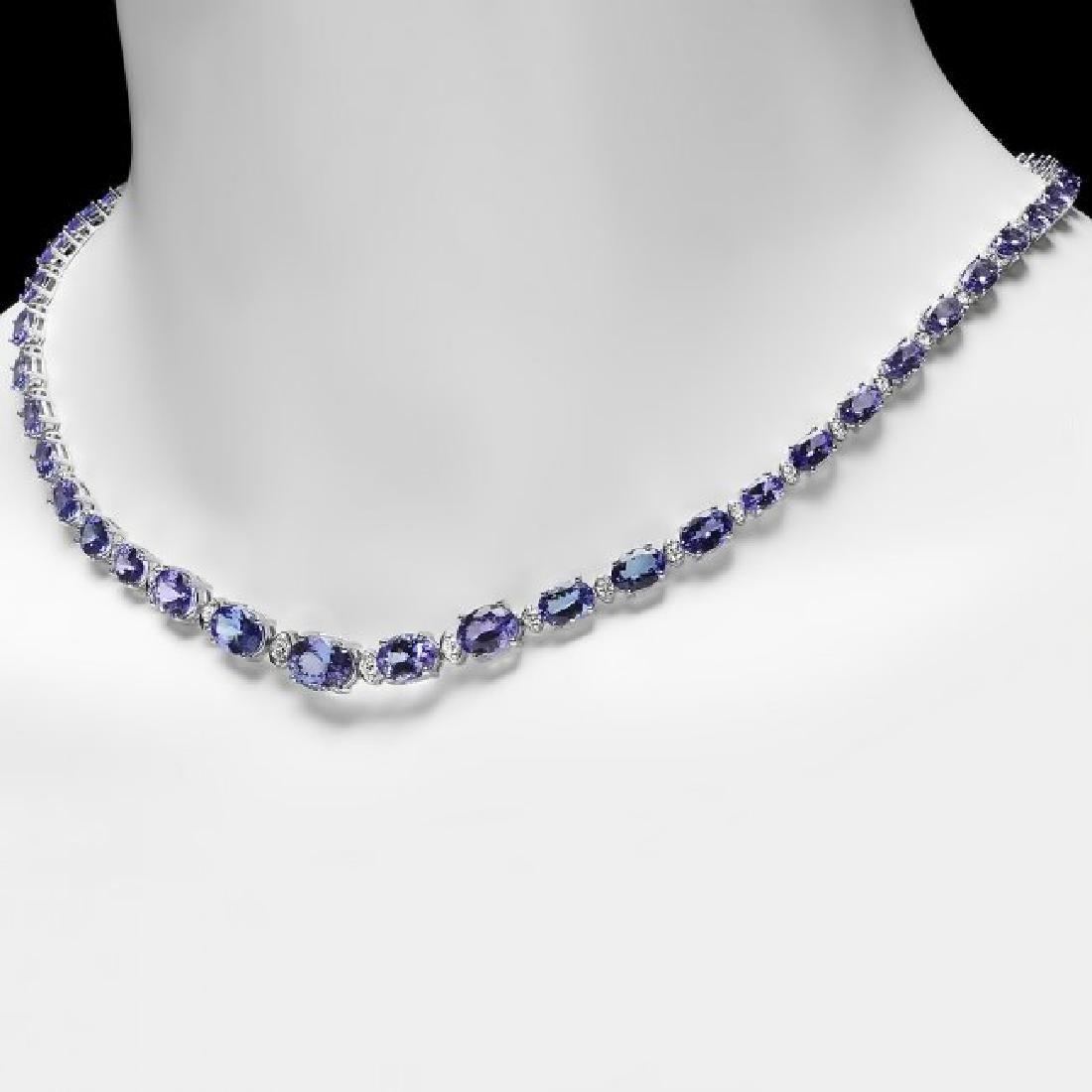 14k 26.00ct Tanzanite 1.10ct Diamond Necklace - 2