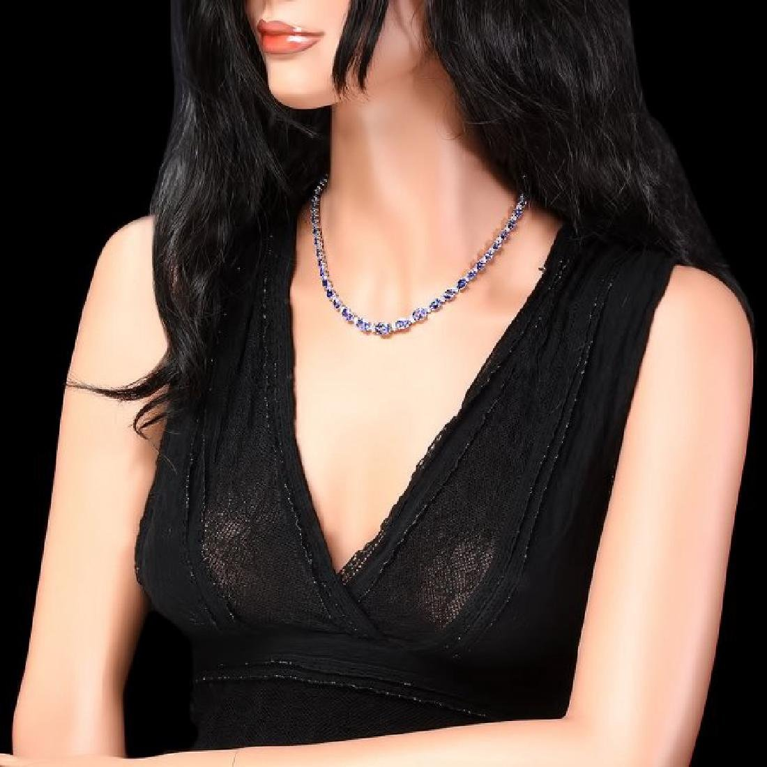 14k 26.00ct Tanzanite 1.10ct Diamond Necklace - 5