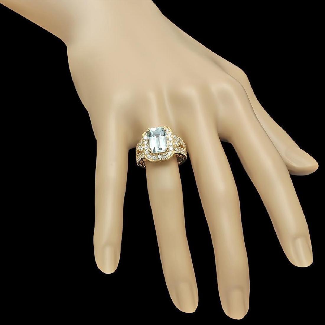 14K Gold 3.85ct Aquamarine & 1.46ct Diamond Ring - 3