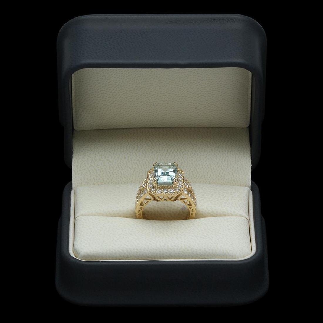 14K Gold 3.85ct Aquamarine & 1.46ct Diamond Ring - 4