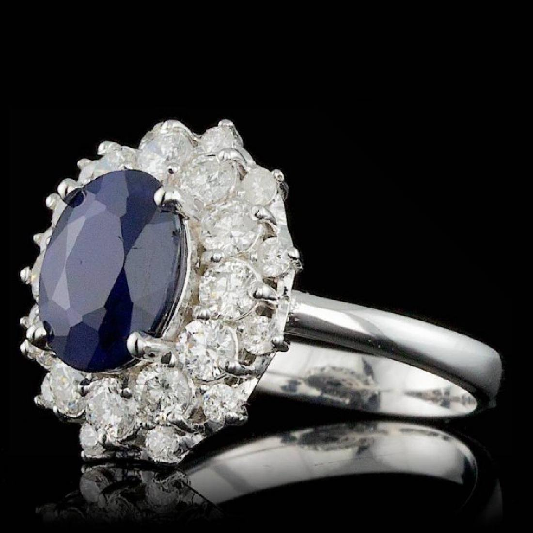 14k Gold 3.00ct Sapphire 1.40ct Diamond Ring - 2