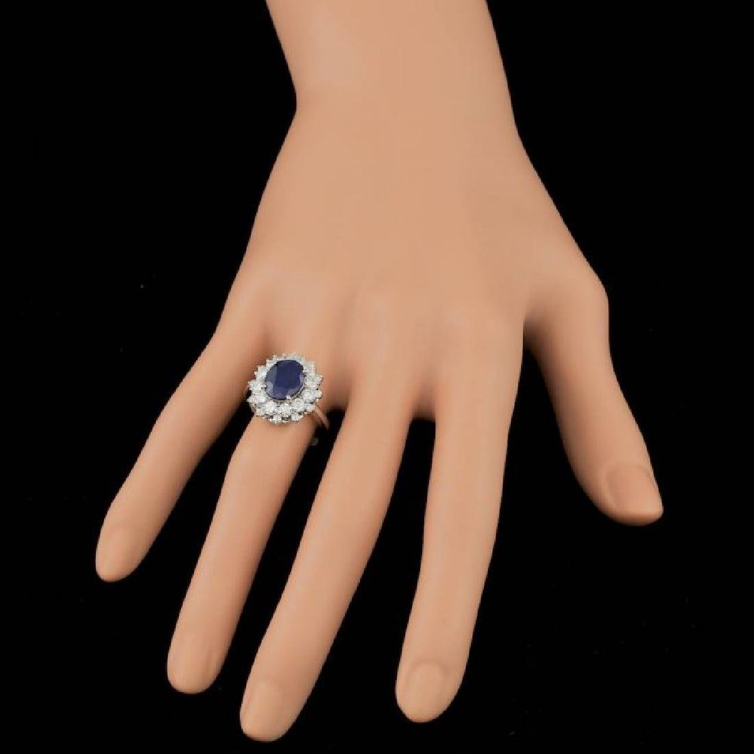 14k Gold 3.00ct Sapphire 1.40ct Diamond Ring - 3